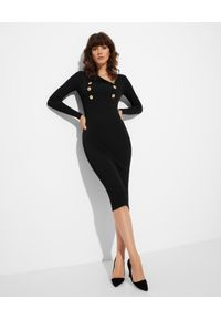 Elisabetta Franchi - ELISABETTA FRANCHI - Czarna dzianinowa sukienka. Kolor: czarny. Materiał: dzianina. Długość rękawa: długi rękaw. Typ sukienki: asymetryczne, dopasowane. Długość: midi