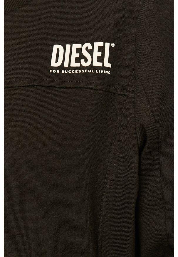 Czarna bluza Diesel z okrągłym kołnierzem, z aplikacjami