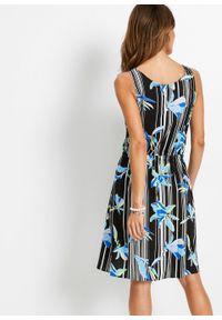 Sukienka z wiskozy bonprix czarno-niebieski morski w paski. Kolor: czarny. Materiał: wiskoza. Wzór: paski