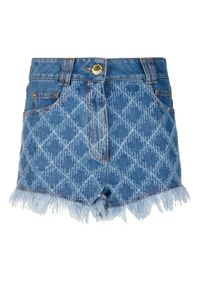 Balmain - BALMAIN - Jeansowe szorty z logo. Stan: podwyższony. Kolor: niebieski. Materiał: jeans. Wzór: haft. Styl: elegancki
