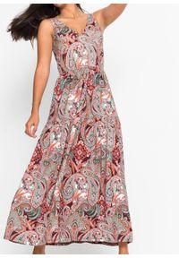 Czerwona sukienka bonprix paisley, z dekoltem w serek, maxi, na lato