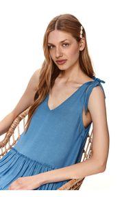 DRYWASH - Krótka sukienka z falbanami. Typ kołnierza: dekolt w serek. Kolor: niebieski. Materiał: len, tkanina. Długość rękawa: na ramiączkach. Sezon: lato. Styl: wakacyjny. Długość: mini