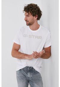 G-Star RAW - G-Star Raw - T-shirt. Okazja: na co dzień. Kolor: biały. Materiał: bawełna, dzianina. Wzór: aplikacja. Styl: casual