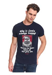Niebieski t-shirt TOP SECRET na zimę, krótki, z nadrukiem, z krótkim rękawem