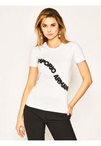 Emporio Armani T-Shirt 3H2T6F 2JQAZ 0100 Biały Regular Fit. Kolor: biały