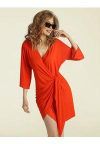 Madnezz - Sukienka Chilena mini - chilli. Materiał: wiskoza, elastan. Typ sukienki: kopertowe. Długość: mini