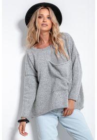 Fobya - Wełniany Gładki Sweter z Kieszenią - Szary. Kolor: szary. Materiał: wełna. Wzór: gładki