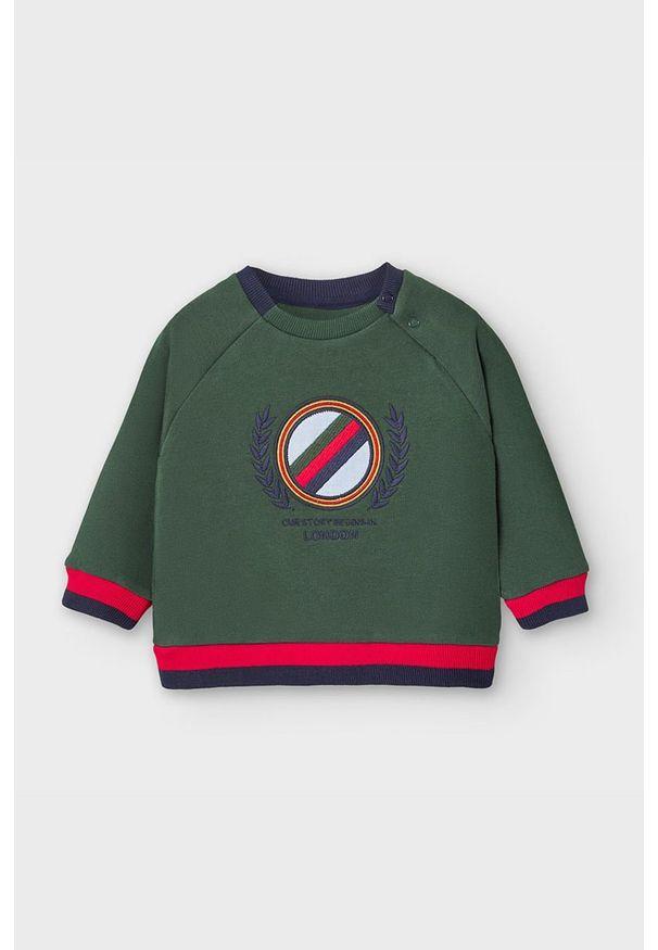 Zielona bluza Mayoral z aplikacjami, bez kaptura, raglanowy rękaw