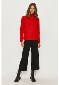 Czerwony sweter Brave Soul z długim rękawem, casualowy, długi, na co dzień