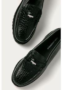 Czarne mokasyny Karl Lagerfeld na średnim obcasie, na obcasie, z cholewką, klasyczne