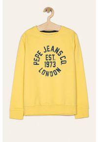 Żółta bluza Pepe Jeans casualowa, bez kaptura