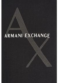 Niebieski t-shirt Armani Exchange na co dzień, z nadrukiem