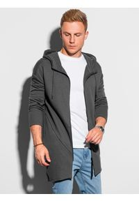 Ombre Clothing - Bluza męska rozpinana z kapturem B1189 - grafitowa - XXL. Typ kołnierza: kaptur. Kolor: szary. Materiał: bawełna, dzianina, jeans, poliester. Długość: długie