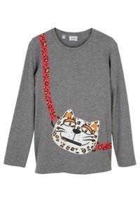 Shirt dziewczęcy z długim rękawem, bawełna organiczna bonprix szary melanż. Kolor: szary. Materiał: bawełna. Długość rękawa: długi rękaw. Długość: długie. Wzór: melanż