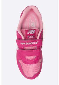 Różowe buty sportowe New Balance z okrągłym noskiem, z cholewką