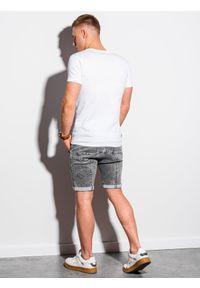 Ombre Clothing - T-shirt męski bawełniany basic S1370 - biały - XXL. Kolor: biały. Materiał: bawełna. Styl: klasyczny