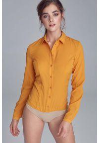 Nife - Musztardowa Taliowana Koszulowa Bluzka - Body. Kolor: żółty. Materiał: elastan, poliester