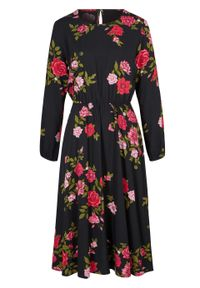 Czarna sukienka bonprix w kwiaty, midi, koszulowa