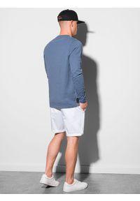 Ombre Clothing - Longsleeve męski z nadrukiem L130 - ciemnoniebieski - XXL. Kolor: niebieski. Materiał: bawełna, tkanina. Długość rękawa: długi rękaw. Wzór: nadruk