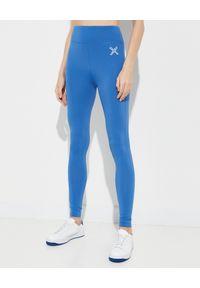 Kenzo - KENZO - Niebiskie leginsy Sport. Kolor: niebieski. Materiał: materiał. Długość: długie. Wzór: aplikacja. Styl: sportowy