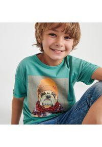 Reserved - T-shirt z nadrukiem - Turkusowy. Kolor: turkusowy. Wzór: nadruk
