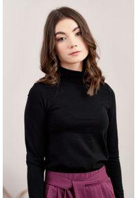 Marie Zélie - Półgolf Ebora czarny. Typ kołnierza: golf. Kolor: czarny. Materiał: bawełna, dzianina, tkanina, elastan