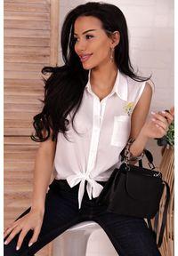 Biała bluzka IVET casualowa, na co dzień, bez rękawów
