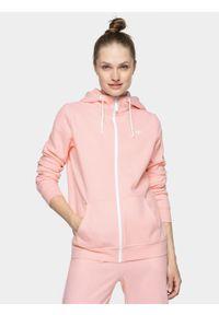 Różowa bluza rozpinana 4f z kapturem, elegancka