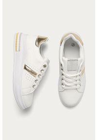 Białe buty sportowe ANSWEAR na sznurówki, z okrągłym noskiem, z cholewką