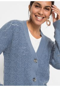 Fioletowy sweter bonprix z dekoltem w serek