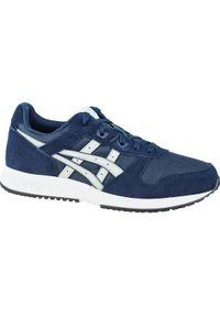 Niebieskie sneakersy Asics lifestyle w kolorowe wzory, z cholewką