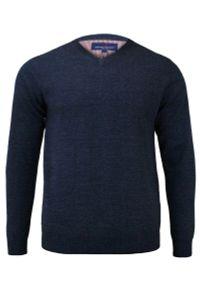 Niebieski sweter Adriano Guinari z dekoltem w kształcie v, do pracy