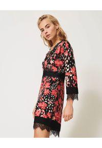 Czarna sukienka mini TwinSet w kwiaty