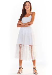 Biała spódnica Awama w grochy