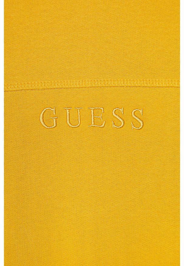 Żółta bluza Guess Jeans na co dzień, casualowa, z kapturem