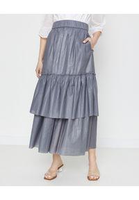 CAPPELLINI - Szara spódnica z falbanami. Kolor: szary. Materiał: materiał. Wzór: aplikacja