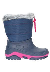 4f - Buty zimowe dla małych dziewczynek JOBDW104 - granatowy. Kolor: niebieski, wielokolorowy, różowy. Materiał: futro, guma, poliester. Szerokość cholewki: normalna. Sezon: zima