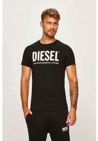 Czarny t-shirt Diesel z nadrukiem, casualowy, na co dzień