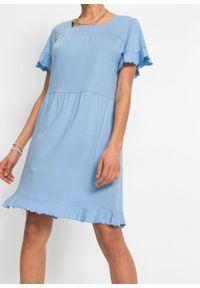Sukienka shirtowa z falbanami bonprix jasnoniebieski. Kolor: niebieski. Sezon: lato. Długość: midi