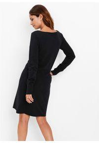 Sukienka dzianinowa bonprix czarny. Kolor: czarny. Materiał: dzianina. Długość rękawa: długi rękaw. Wzór: gładki
