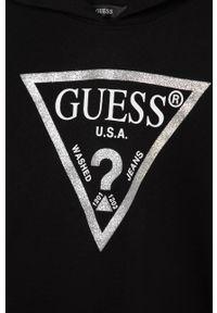 Czarna bluza Guess Jeans z nadrukiem, casualowa, na co dzień, z kapturem