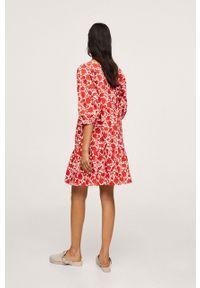 mango - Mango - Sukienka bawełniana OLIVIA. Kolor: czerwony. Materiał: bawełna. Typ sukienki: rozkloszowane