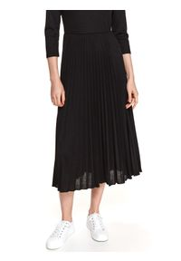 TOP SECRET - Wygodna sukienka z plisowanym dołem. Okazja: na co dzień, do pracy. Kolor: czarny. Materiał: tkanina. Sezon: wiosna. Typ sukienki: proste, plisowane. Styl: casual