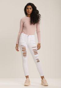 Renee - Białe Spodnie Skinny Idaphonos. Kolor: biały
