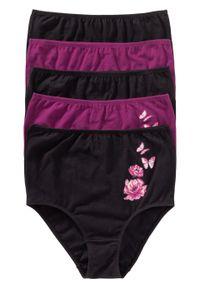 Figi z wysoką talią (5 par) bonprix czarno-fiołkowy lila z nadrukiem. Kolor: czarny. Wzór: nadruk