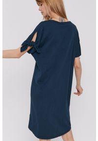 DKNY - Dkny - Sukienka. Kolor: turkusowy. Długość rękawa: krótki rękaw. Wzór: nadruk
