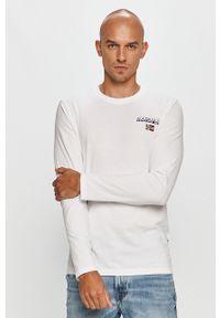 Biała koszulka z długim rękawem Napapijri z nadrukiem, casualowa