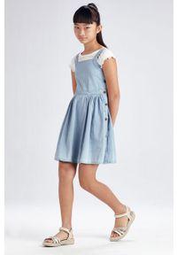 Niebieska sukienka Mayoral rozkloszowana, na ramiączkach, gładkie