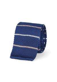 Niebieski krawat Lancerto na co dzień, klasyczny, na zimę, w paski