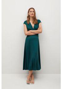 mango - Mango - Sukienka Juliet. Kolor: zielony. Materiał: materiał. Długość rękawa: krótki rękaw. Typ sukienki: rozkloszowane